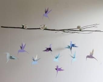 Hummingbird Mobile - Branch Mobile, Lavender, Home Decor, Bird Mobile, Nursery Mobile, Baby Mobile, Lavender Mobile,Floral Branch, Purple