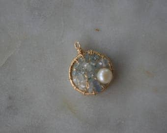 Aquamarine, moonstone, pearl mosaic pendant