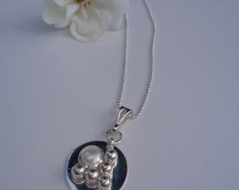 Silver necklace, 925 Silver Pendant with beads applications