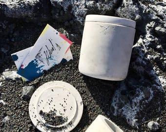 Natural Unpigmented Concrete Vessel Jar Canister