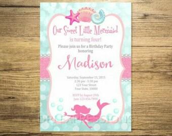 Mermaid Invitation, Printable Pink Mermaid Silhouette Birthday Party Invitation, Under The Sea Invitation, Digital or Printed