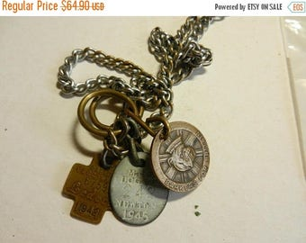 Summer Sale Vintage WW2 British / American Dog Chain with Medal and Tags