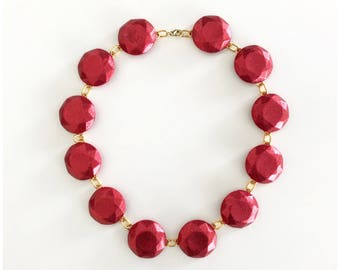 Ruby red polymer clay faceted jewels inspired by what Heidi Klum was wearing on Project Runway!