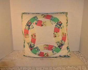 Quilted Wedding Ring Pillow Vintage Multi Color Square Pillow Solid Color Backing Throw Toss Pillow Country Cottage Decor