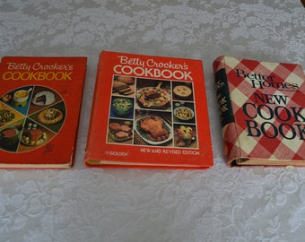 3 Vintage Cookbooks- Betty Crocker-Better Homes and Gardens-Grandma's cookbook-Farmhouse decor-Vintage recipes-retro kitchen-red cook books