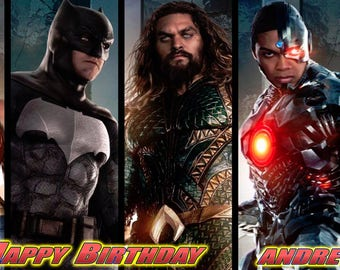 Birthday banner Personalized 4ft x 2 ft Justice League