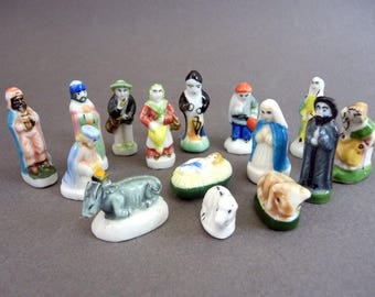 15 french Nativity feves, vintage miniatures, Jesus Lady Virgin Mary Joseph, Southeastern France crib, Tiny ceramic dolls, Christmas gift