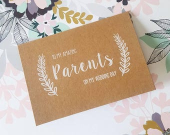 To My Amazing Parents, Thank You Card - Screen Printed - Rustic Wedding