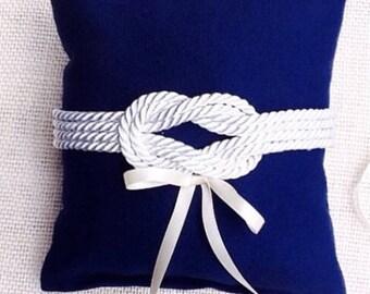 Sailors Knot Ring Pillow-Sailors Knot ring bearerl ring pillow-Beach ring pillow-Navy blue ring pillow-Nautical ring pillow-navy wedding