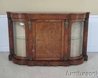 F42784E:  Antique French Rosewood Credenza With Bowed Glass