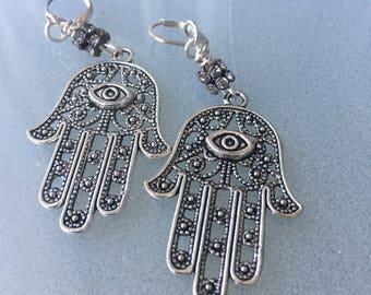 Silver Hamsa evil eye earrings/Hamsa talisman earrings/good luck earrings/Hamsa hand earrings