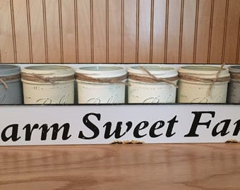 Farmhouse mason jar centerpiece, farmhouse decor, farm sweet farm