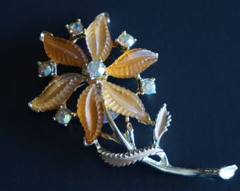 Vintage Large Lucite & Aurora Borealis Flower Brooch.// Gifts for Her.