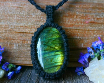 Labradorite Energy Necklace for 7 Chakra Balance, Gemstone necklace