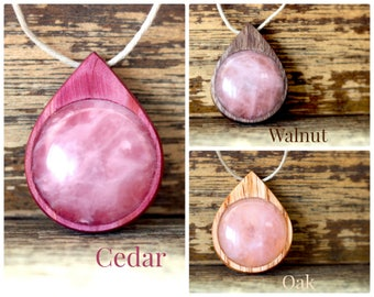 Gemstone Protection Amulet, Gemstone Amulet, Protection Talisman, Wood Amulet, Wood Talisman, Wooden Necklace, Rose Quartz Necklace, Amulet