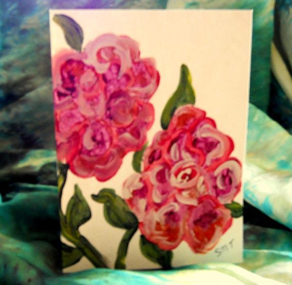 Original Hand Painted Blank Note Card, Acrylic Painting, English Roses, Folk Art Keepsake Signed Artwork by Stacey Torres