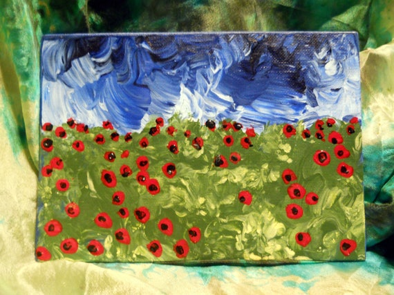 """POPPIES, Acrylic Painting on 7 x 5"""" Canvas Panel, Folk Art, Stacey Torres Artist, Red Flowers"""
