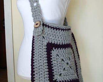 Crochet Bag, Messenger Bag, Granny Square Bag