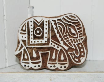 hand-carved Indian wooden temple, big elephant