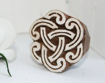 hand-carved Indian Holzstempel Cloud Mandala