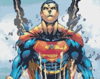 """superman cross stitch superman pattern marvel cross stitch needlepoint needlecraft modern pattern - 15.64"""" x 24.29"""" - L862"""
