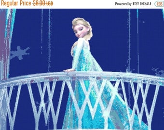 "Princess Elsa Counted Cross Stitch Princess Elsa Pattern modern cross stitch, needlepoint - 23.64"" x 17.71"" - L326"