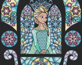 "elsa Counted Cross Stitch elsa Pattern disney pattern cross stained glass pattern frozen pattern - 17.57"" x 19.71"" - L767"