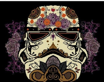 "stormtrooper Cross Stitch sugar skull cross stitch Star wars pattern Pattern needlepoint needlecraft -12.86"" x 13.57""- L1066"