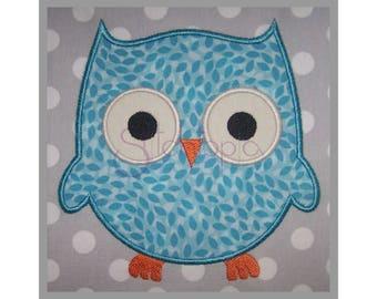 Forest Animals Owl Applique Design - 6 Sizes 10 Formats dst exp hus jef pes sew shv vip vp3 xxx Machine Applique - Instant Download Files