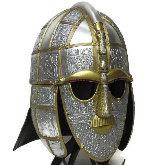Larp Armor, Anglo Saxon Sutton Hoo helmet, Cosplay helmet, viking helmet, larp helmet, fantasy helmet