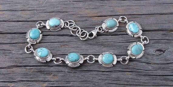 Navajo Silver Turquoise Link Bracelet, Navajo Link Bracelet, Silver Link Bracelet, Native American Bracelet, Turquoise Bracelet, #Etsy USA