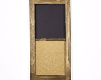 """Corkboard and Chalkboard   12"""" x 24""""  Perfect for Home Organization   Custom Stain and Custom Color Options"""