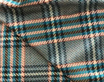 Wool check fabric prince de galles pattern prince of Wales check suiting fabric pure wool suiting jacketing Teal Blue pink black