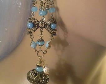 blue opalescent baroque earrings