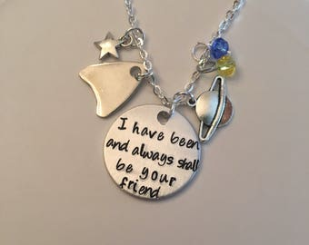 I Have Been and Always Shall Be Your Friend Star Trek Spock Kirk Zach Quinto Chris Pine Leonard Nimoy William Shatner Stamped Charm Necklace