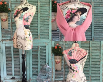 VINTAGE Style MANNEQUIN, Covered in French Fabric