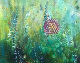 """Mixed Media Collage Original Art, """"Underwater Fantasy"""" www.cynthiashawcreations.com"""