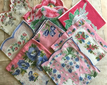 Sweet Vintage Assortment of Hankies - Pink - Lot of 8