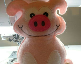 Stuffed Piggy Pig Shelf Sitter Cupboard Tuck Farm Animal ADORABLE!