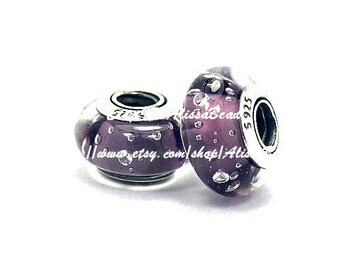 925 Sterling Silver Screw Core handmade Purple  Effervescence Murano Glass with CZ Charm Bead Fits All European Style Bracelets