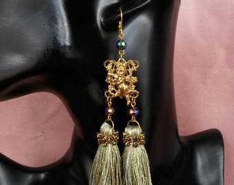 """Earrings tassel Collection """"The Royal green flashing"""" No. 1"""