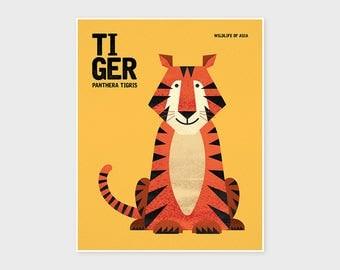 TIGER, Wildlife of Asia, Nursery Animal Wall Art, Nursery Print, Kids Poster, Retro Poster, Poster Art