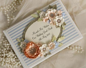 pale blue, peach and gold wedding guest book, pastel blue wedding guestbook peach and blue wedding decoration, peach and gold wedding book