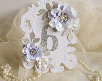 Lavender Wedding Table Number Glitter Numbers Decorations Centrepiece Free