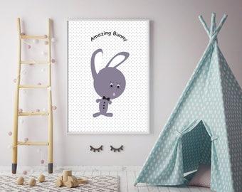 Amazing Bunny2 wall print