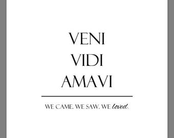 PRINTABLE 5x7 Veni Vidi Amavi We Came We Saw We Loved SIGN