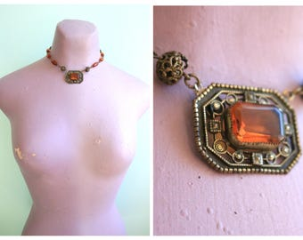 Vintage 1930's Amber Glass and Brass Necklace | Size OSFM