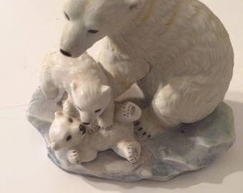 Masterpiece Porcelain by Homco Polar Bear and Cubs