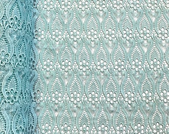 """Mint Iris Guipure French Venice Lace Embroidery 52"""" inches wide many colors"""
