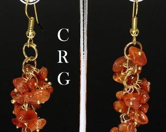 Gold Plated Carnelian Agate Grape Cluster Earrings (GC20DG)